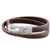 Gents Sterling Silver clip three strand Brown Leather cuff bracelet